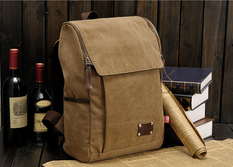 High Quality Men s Backpacks men solid zipper cover vintage canvas backpack bag mochilas masculinas rucksack