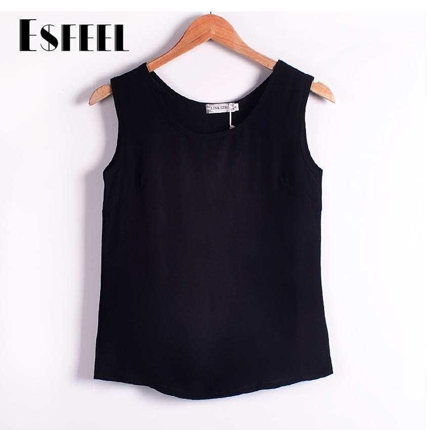 Women Tank Top Black Blouses Vest Chiffon Casual