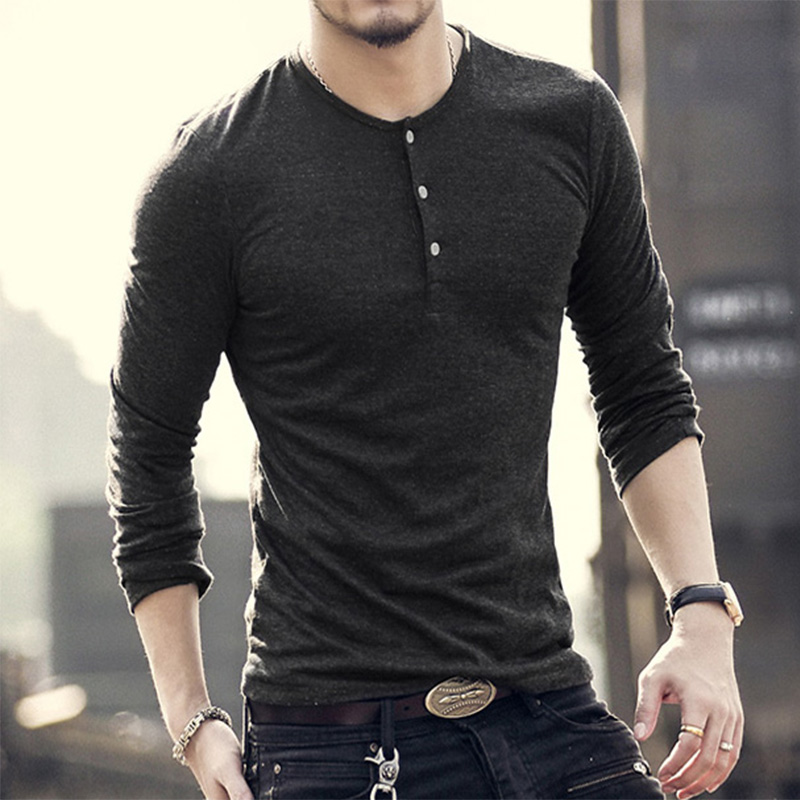 New Fashion Men Tee Long Sleeve Henley Shirts Military Casual T- shirt ...