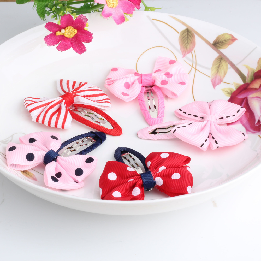 New Sold Pairs Girls Hair Accessories Candy Color Dot Bow Hairpins Cute BB Accessories Hair Accessories Bowknot Hair Clip