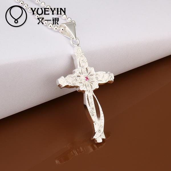 High quality 925 sterling silver fashion necklace devout disciple Christian cross pendants chains N391(China (Mainland))