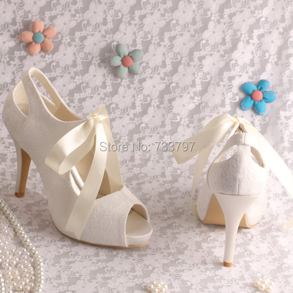 Wedopus Custom Handmade High Heeled Wedding Ivory Lace Shoes Bridal Open Toe
