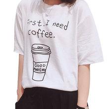 Buy Women T-shirt 2017 Summer New Fashion Cartoon Coffee Letter Printed Slim Short Sleeve T-shirt Women Casual Loose Tops Tee Shirt for $4.65 in AliExpress store