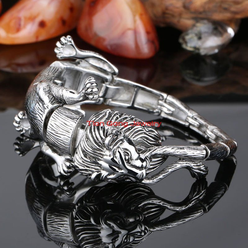 Silver Cool Animal Jewelry Heavy Strong Mens 100% 316L Stainless Steel Male Lion Leopard Biker Chain Bracelet Retail - Tian Gang store