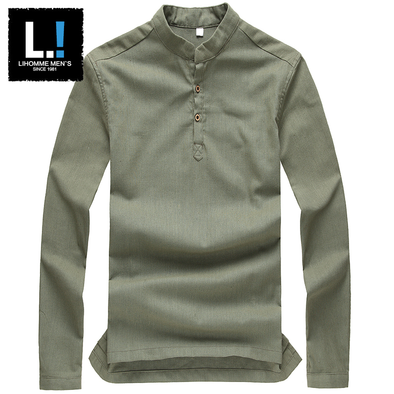 AAW 2015 linen clothes casual t-shirt retro chinese style long-sleeved cotton shirt men loose men's hemp - A W MAN store