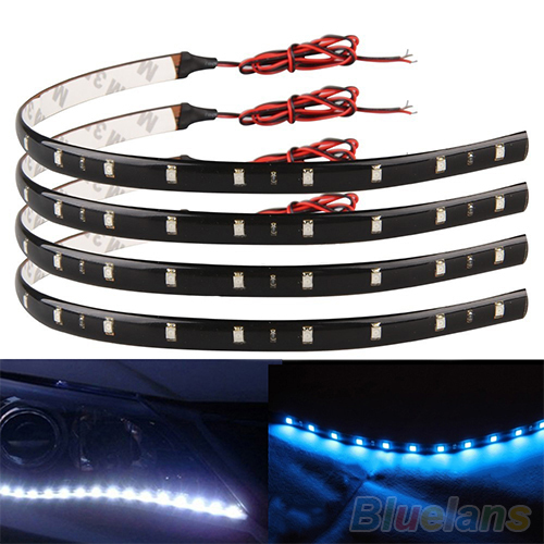 4Pcs 30cm SMD 15 LED Car Trucks Motor Grill Flexible Waterproof Light Strips 2KIZ(China (Mainland))