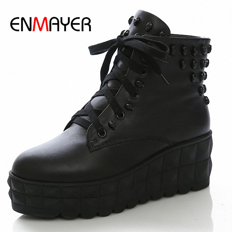 ENMAYER New 2015 Round Toe Skull Leather High women boots Winter Shoes Platform Martin boots for women big size 34-43<br><br>Aliexpress