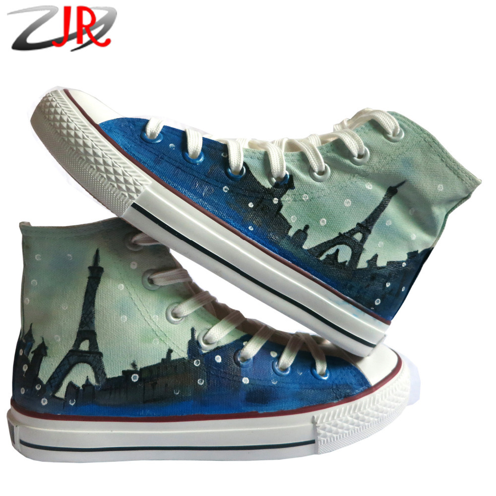YJR Fashion High Top Canvas Shoes France Paris Eiffel Tower Pattern Hand-painted Shoes Graffiti Flat Shoe(China (Mainland))
