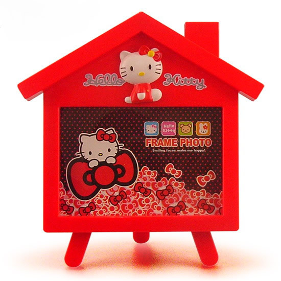 Free shipping 2015 Hot Sale Cartoon house design photo frame Home Decor Plastic rahmen Hellokitty picture frame Fit 5 inch photo