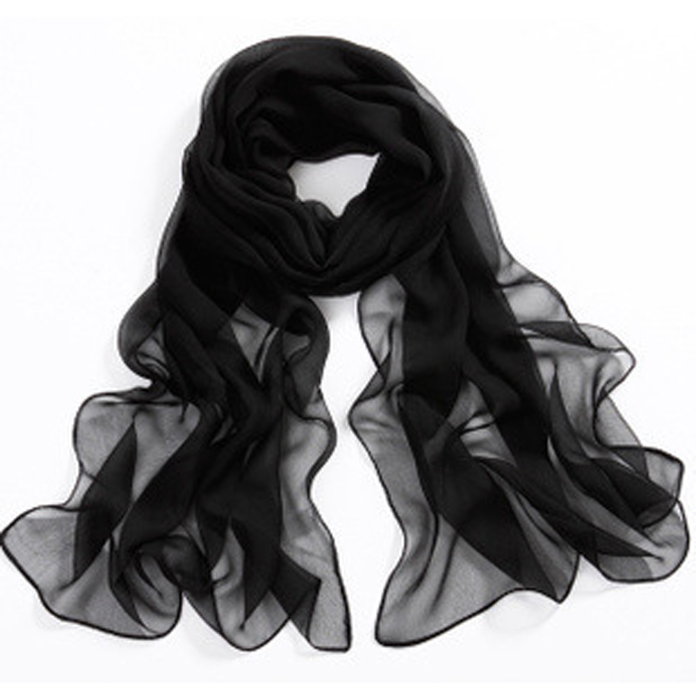 Unique High Quality Solid Color Chiffon Scarf Black Design Long Scarf Cape Sunscreen Thin Scarf Spring And Autumn Female(China (Mainland))