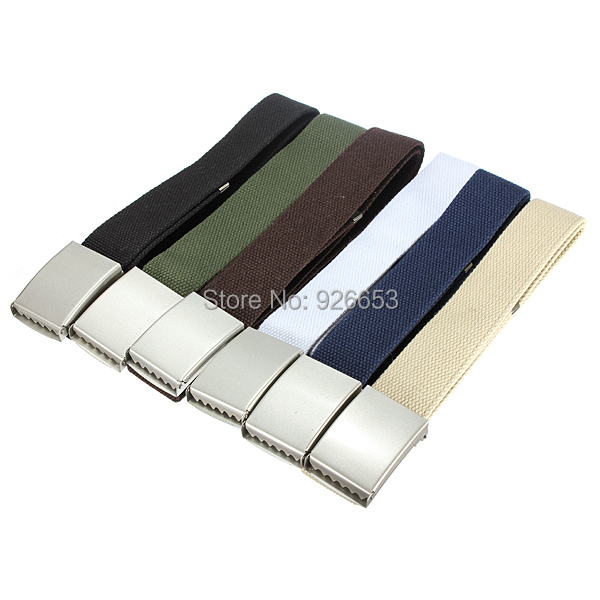 NEW HOT Buckle Belt Waist Waistband Cintos Men Women Plain Cotton Canvas Metal Webbing Accessories Unisex