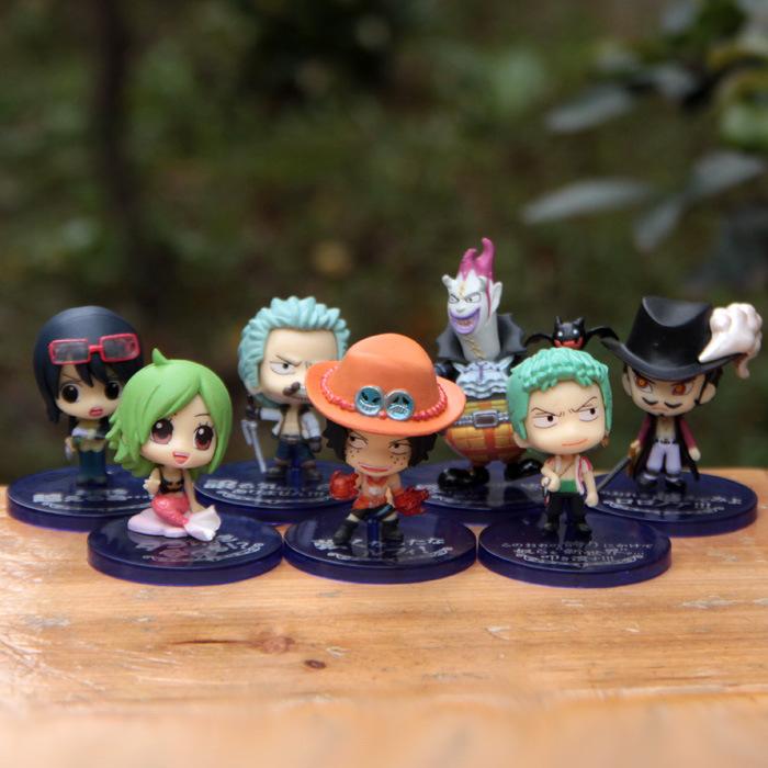 Pop Anime Cartoon One Piece Resin action figures Luffy/Crocodiler/mihawk 7 Toys 7pcs/set(China (Mainland))