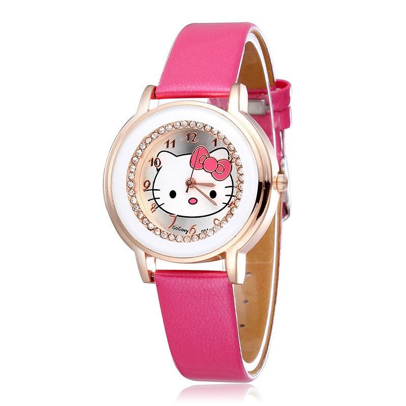 Hello Kitty GoGoey Watches PU Leather Strap Analog Quartz Watch Ladies Rose gold Casual Watches GoGoey Women Dress Wristwatches(China (Mainland))