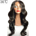 36C Glueless Lace Front Wigs Human Hair Wig With Bangs Body Wave 100% Peruvian Non Remy Hair Wig Long Hair For Black Women