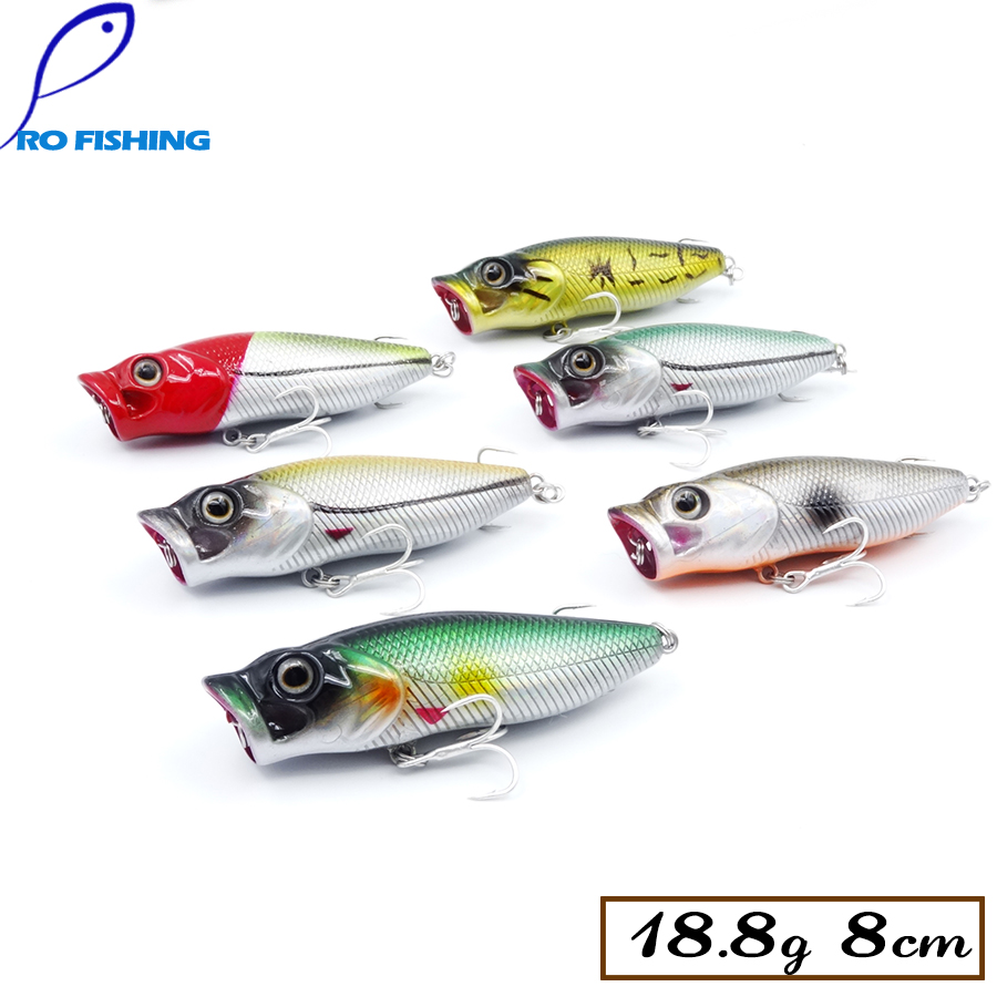 Pesca 3pcs 8cm popper trout lure top water fly for Fly fishing lures