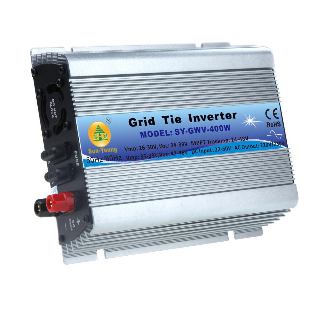 400W Watt Micro Grid Tie Inverter Accept DC 22-60V AC 230V Solar Power Pure Sine Wave EU Converters(China (Mainland))