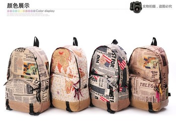 Free Shipping Women Fashion Vintage Cute Newspaper Print Canvas  School Book Campus Bag Backpack New 4 Colors hot sale