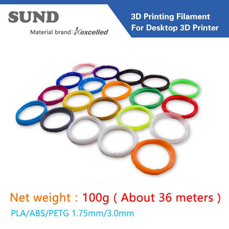 3D printer filament PLA ABS PETG 1.75mm3.0mm 100g 3D printing Materials Plastic, tape, printing wire 34 colors can be selected(China (Mainland))