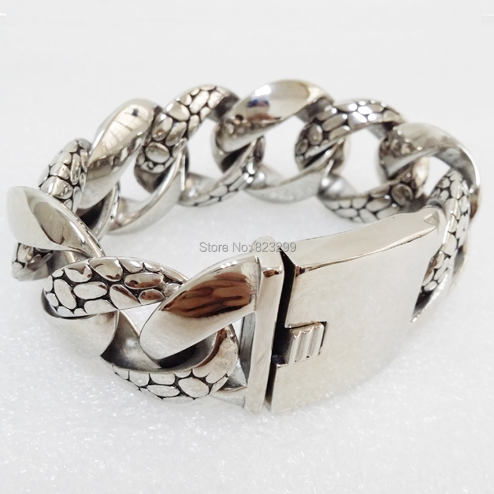 Fashion silver stainless steel (316) cool retro Byzantine Bracelet (length: 24cm, width: 30mm) ppss-057 - tgjewelrysale88 store