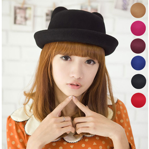 New Vogue Winter Women Girl Wool Derby Devil Hat Cute Kitty Cat Ears Bowler Cap HT034(China (Mainland))