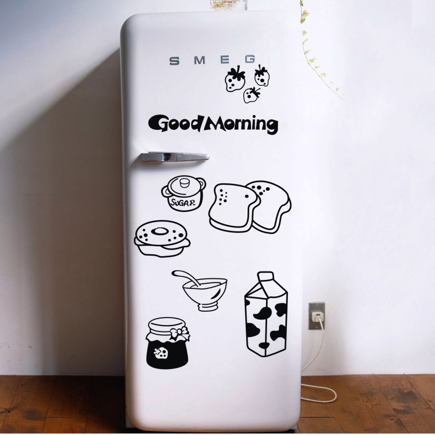Good morning breakfast combination wall decals Warm family dining room kitchen fridge decorative stickers - walls tale store
