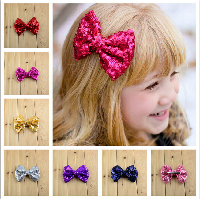 Newest Trendy Solid Sequin/Duckbill clip decoration Bowknots shape handmade ties diy hair/garments/Brooches accessory(China (Mainland))