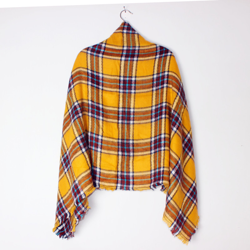 ZA 2017 New Arrival Winter Fashion Women Euro Brand Design Geometric Yellow Grid Square Scarf Big Shawls 140cm*140cm