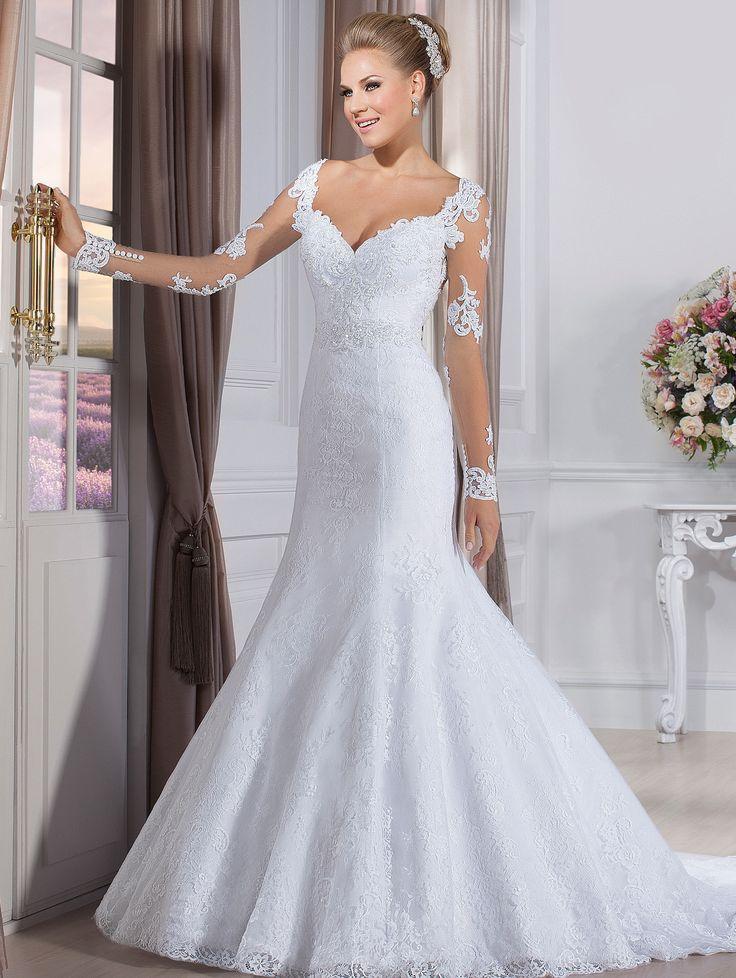 Vestido De Festa Full Sleeve China On Store Bridal Gowns See Though Back Sweetheart Wedding Dresses White Lace Vestido De Noiva(China (Mainland))