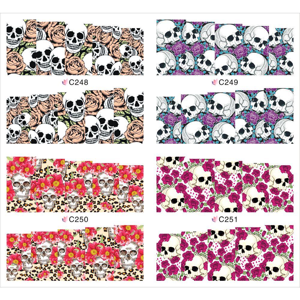 1 Pcs Skull Design Manicure Decor Tools DIY Punk Style Sticker For Nails Fashion Full Wraps Nail Art JH369(China (Mainland))