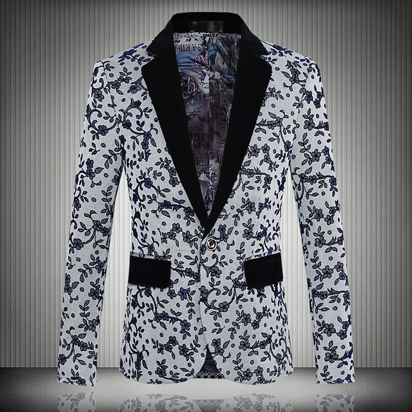 2017 spring new arrivals mens blazer jacket one button woolen slim fit men floral blazer casual suits chaquetas hombre WS840