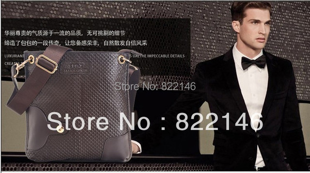 Genuine Leather Men's New Designs Men Shoulder Messenger Bag Leather Bag free Shipping