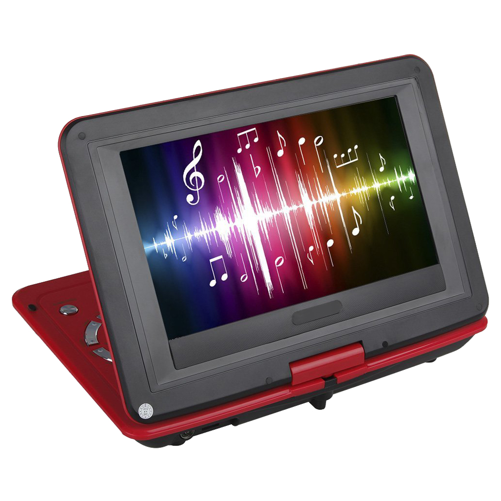 """ETC-10"""" Portable DVD Player With 270 Degree Rotating Swivel LCD Built in Rechargable Battery Game Player Support SD Card (Red)(China (Mainland))"""
