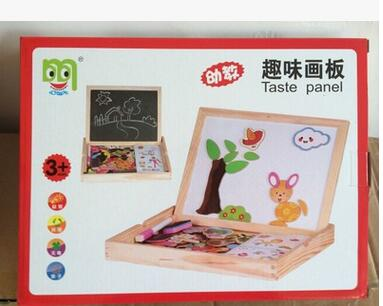 Popular toy scene magnetic drawing board sided wooden drawing board creative fun children's educational toys free shipping(China (Mainland))
