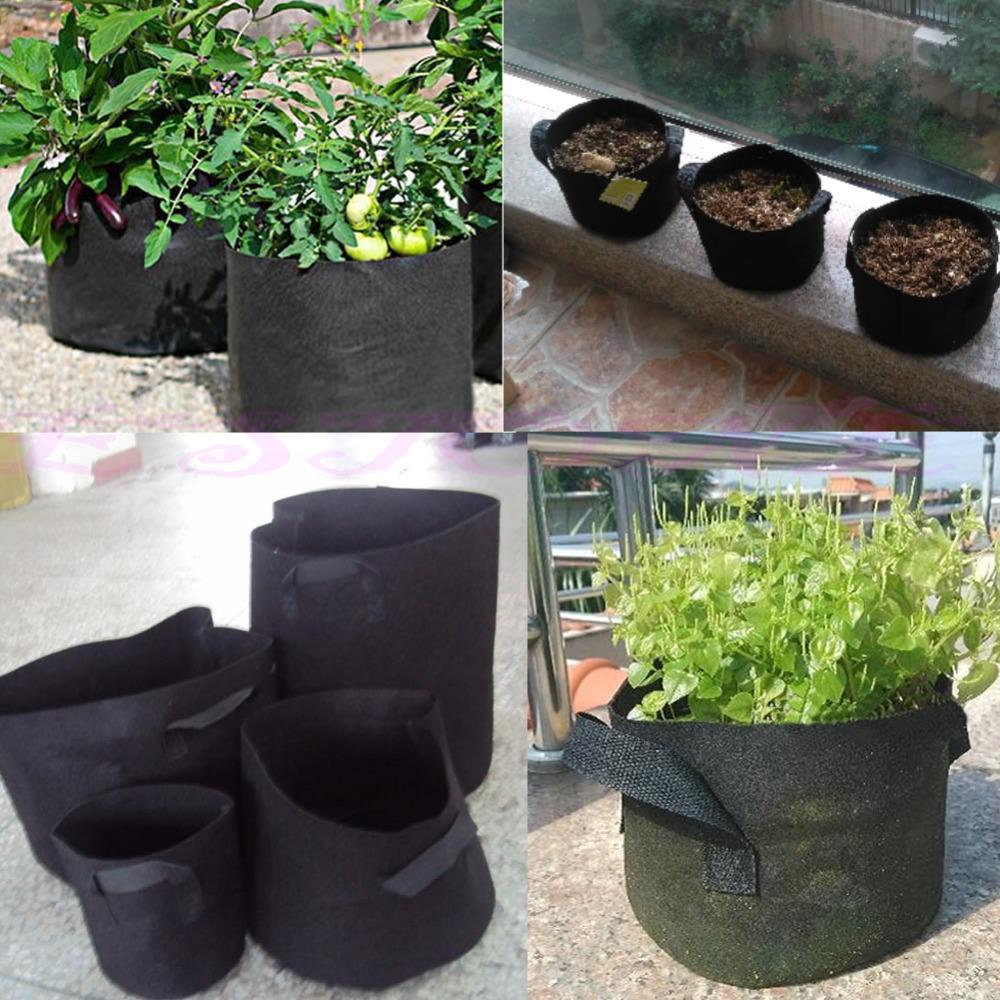 черная ткань горшки растений овощных мешочек раунд аэрации горшок контейнера растут мешок