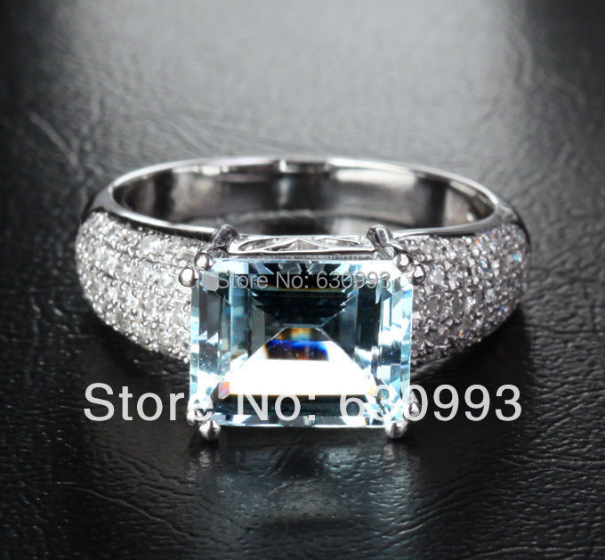 Jewelry Promotion Solid 14K White GOLD 8x10mm 2.35ct Aquamarine 0.35ct Natural Engagement Ring retail - pincy o's store
