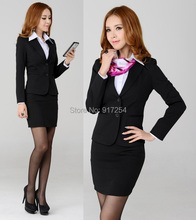 New autumn winter career suit six sizes S-3XL long sleeve career suits women's work wear skirt OL set overalls free shipping