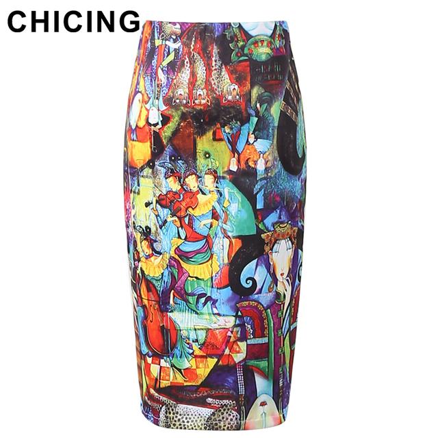 Chicing женщин юбки карандаш 2016 абстрактное искусство картины маслом граффити печать ...