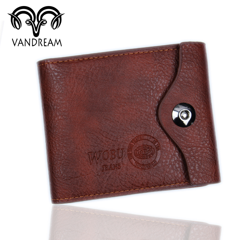 VANDREAM Black and Brown Bifold Wallet Men's PU Leather Credit/ID Card Holder High-grade Purse Gift 2016 Fashion MW-007(China (Mainland))