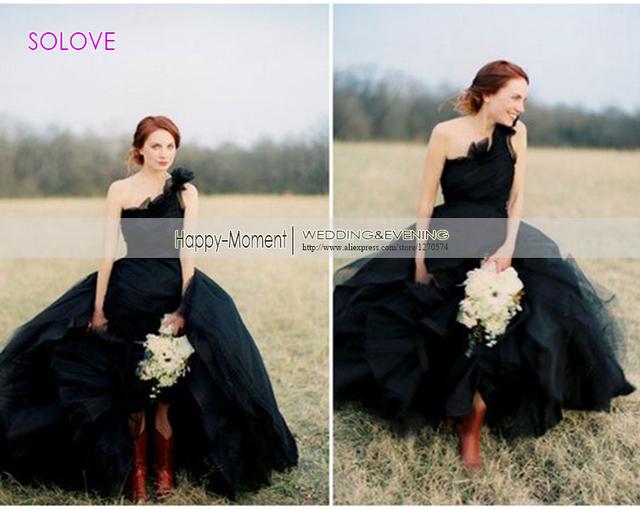 Новый одно плечо черное свадебное платье 2016 бальное платье высокое / низкое многоуровневого складки свадебное платье свадебное платье Vestido де Noiva ( SL-W390 )