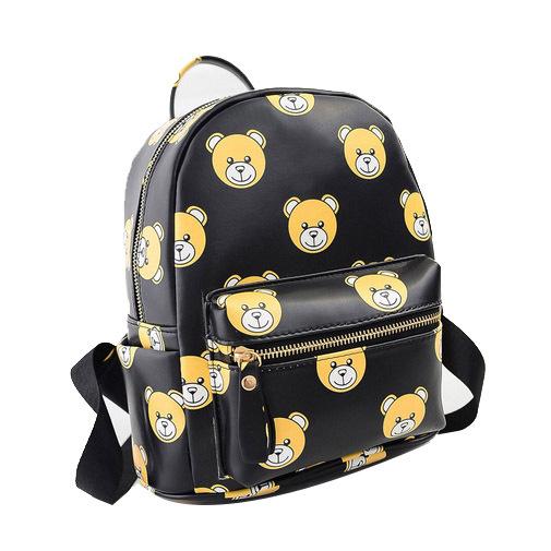 Vente chaude mignon ours impression sac à dos pour femmes sacs quotidiens Mini Zipper noir blanc étanche en cuir école sacs à dos(China (Mainland))