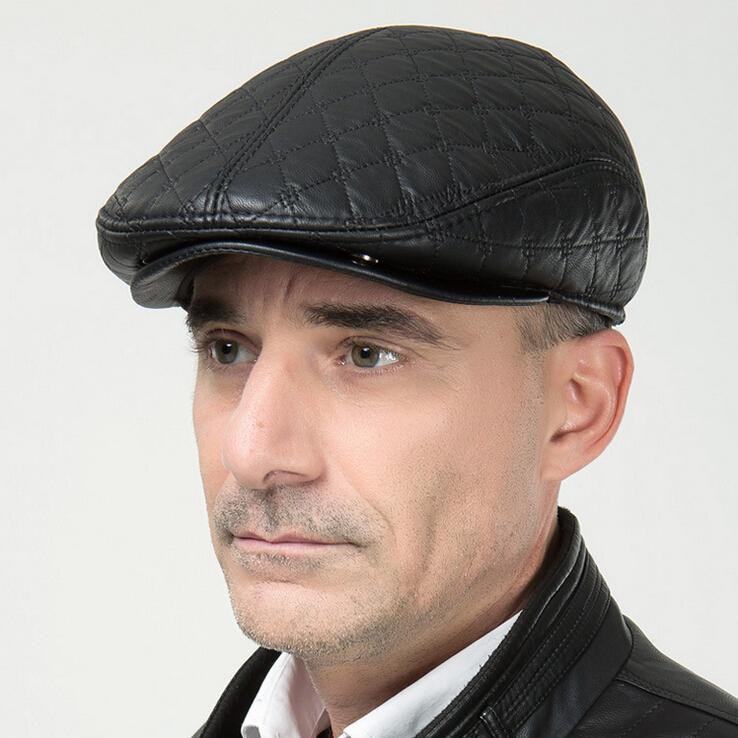 men PU newsboy hats autumn winter flat golf caps earflap gray ivy caps Berets father men gift Cabbie Driving Hat Asult's Caps
