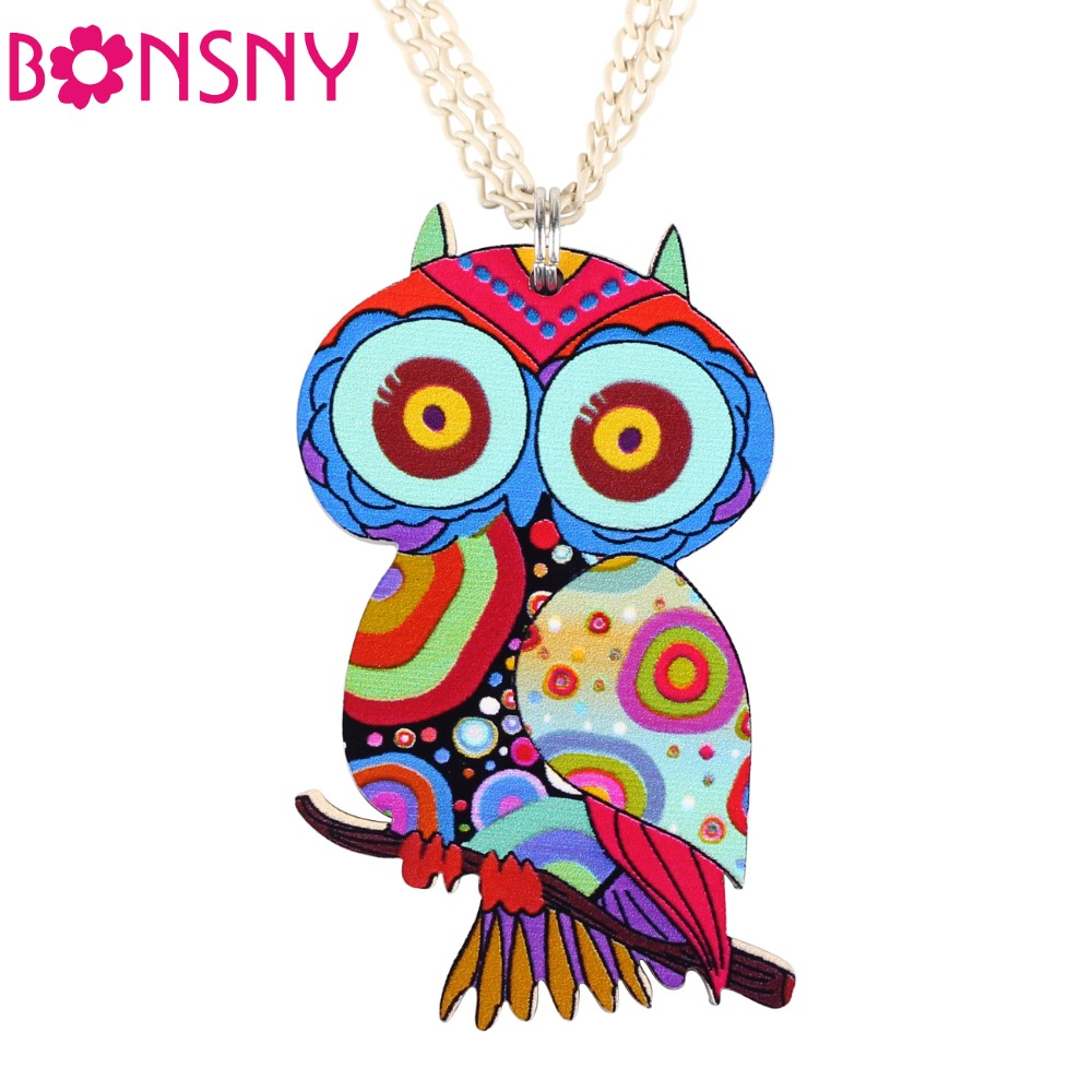 Bonsny Owl Necklace Acrylic Pattern Chain Animal Bird Pendant Fashion Jewelry 2015 News Accessories Famous Brand Unique Design(China (Mainland))