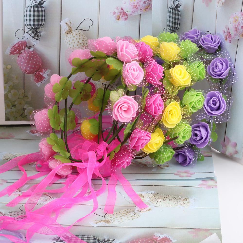 2015 New Women Bohemian Rose Flower headband Kids Wreath Party Wedding Floral with Ribbon Adjustable Hair Accessories Headband(China (Mainland))