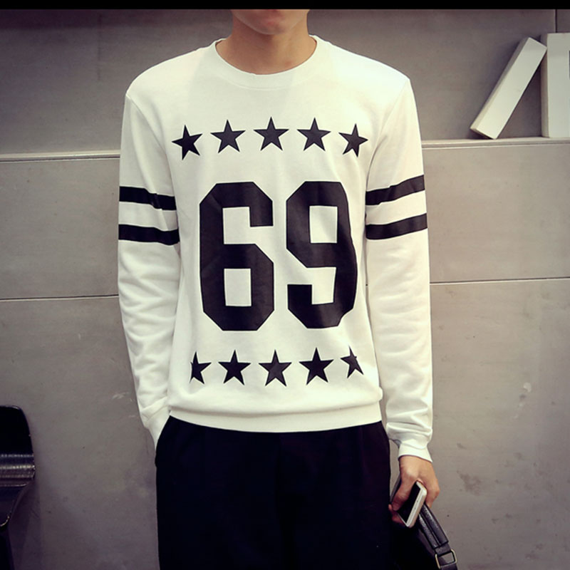 Fall Fashion Mens Crew Neck Sweatshirt Pullover Hoodie Long Sleeve Patchwork Color Black White Hip Hop S-XXL