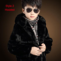 New autumn winter children boy girl warm full genuine leather real rabbit fur jacket clothing fox