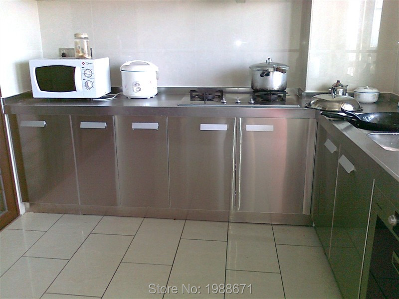 Stainless steel display base cabinets price for Stainless steel kitchen base cabinets