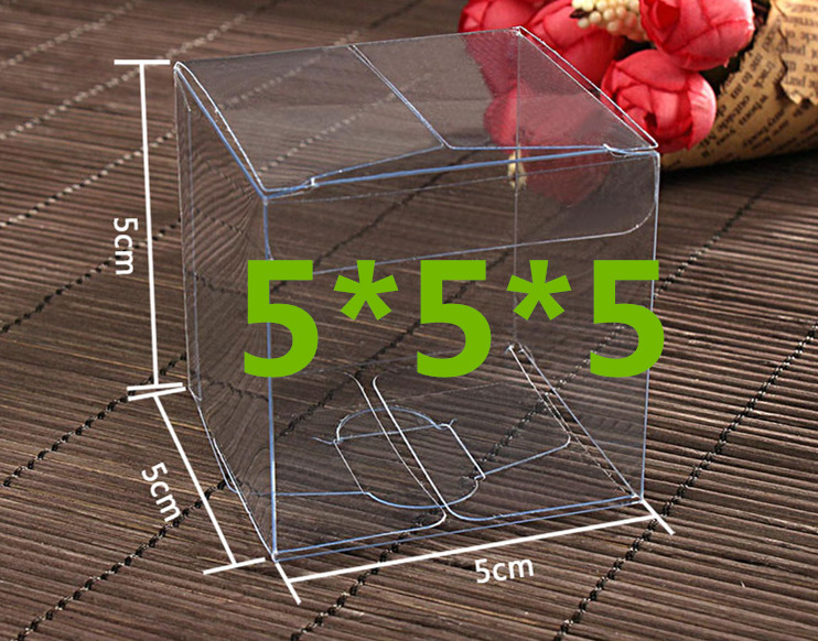 100pcs 5*5*5cm Transparent waterproof PVC boxes Packaging small plastic Clear box storage for food/jewelry/Candy/Gift/cosmetics(China (Mainland))