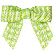 "600pcs Pre tie Tartan Bows 3/8"" Small Green and white Plaid Bows for Garment Accessories"