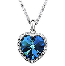 BB889 Fashion Neoglory Titanic Ocean Heart Pendant Necklace For Women Crystal Rhinestone Jewelry Gift New Sale free shipping