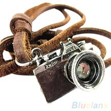 Men's Cool Unisex Rock Punk Charm Camera Pendant Genuine Leather Necklace  2KE2(China (Mainland))